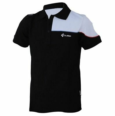 CUBE Cut Polo Shirt Black and White Cycling / Bike Short Sleeve T Shirt - Large