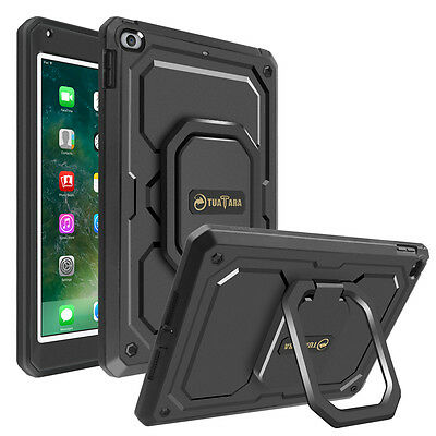 For iPad 9.7 Inch 2018 / 2017 Case Rotating Grip Stand Shockproof Carry Cover