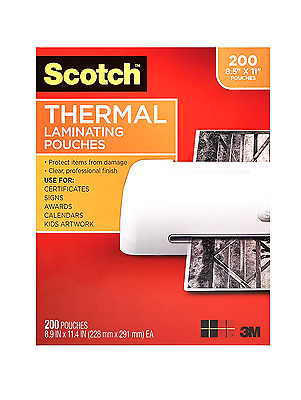 """200 Pack Thermal Laminating Pouches Sheets Scotch Office Accessories 8.5x11"""" NEW"""