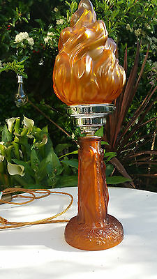 Rare Art Deco amber frosted glass naked ladies lamp