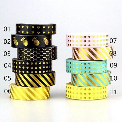 2017 1X 10m Foil Washi Tape Scrapbooking Tools Decorative Paper Adhesive Tapes