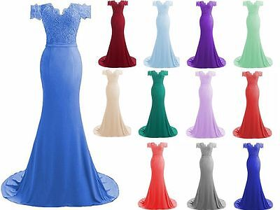 New Long Chiffon Evening Formal Party Ball Gown Prom Bridesmaid Dress Size 6-22+