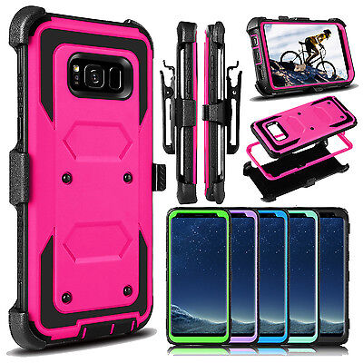 For Samsung Galaxy S8 /S8 Plus Hybrid Armor Belt Clip Kickstand Phone Case Cover