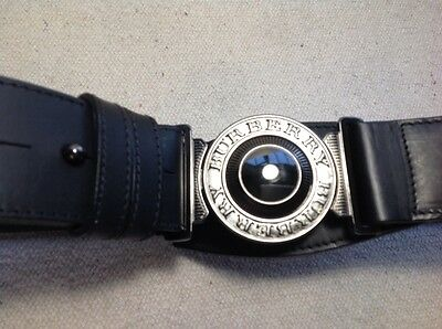 """Burberry black leather military buckle belt, size 38"""""""