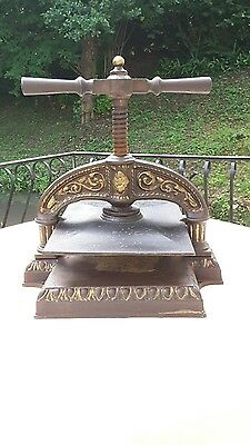 antique French book copy press cast iron ornate from Paris black and gold lovely