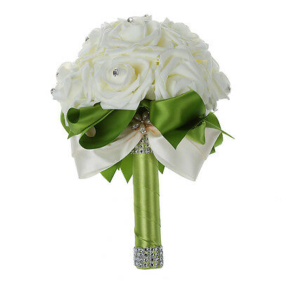 SS Wedding artificial rose white bridal bouquets-Green Ribbon