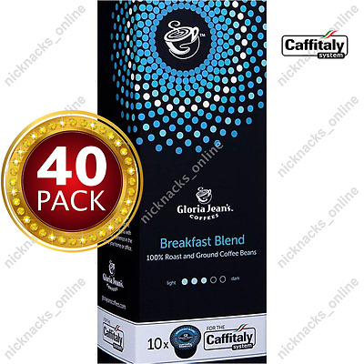 40 Capsules Gloria Jeans Coffee Breakfast Blend Pods for Caffitaly System