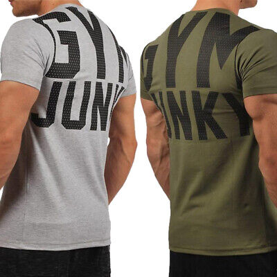 New Fashion Style Men's T Shirt Fitness Gym Musclefit Training Basic Sport Tee