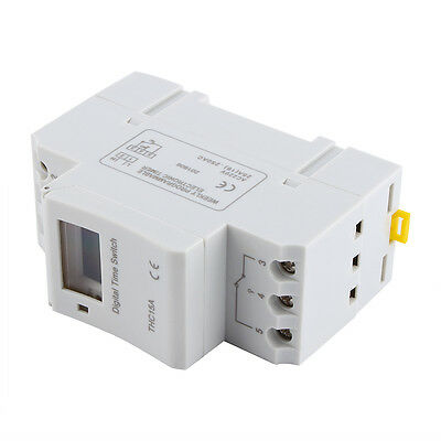 DIN Programmable Timer AC 220V 16A Time Relay Switch Rail Improving LCD New