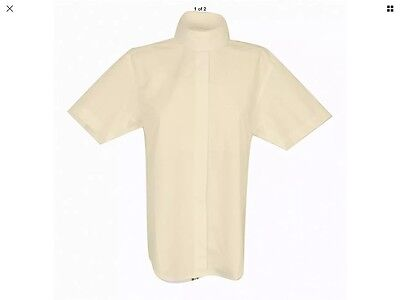Dublin Ladies Cream Short Sleeve Show Shirt Size 10 Uk