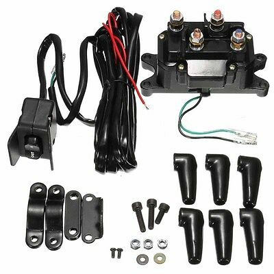 1pc 12V ATV UTV Solenoid Relay Contactor+Winch Rocker Thumb Switch Wiring Combo
