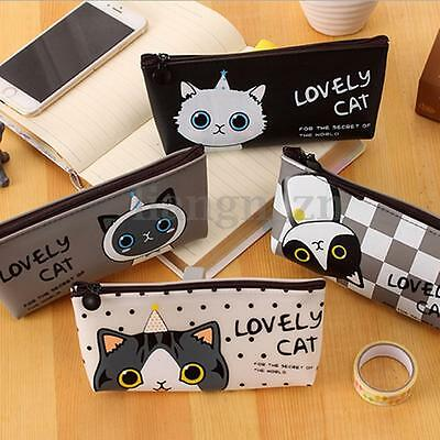 Trousse Scolaire Chat Stylo Crayon Pinceaux Silicone Zip Maquillage Sac Pochette