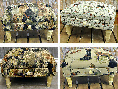 Farm and Animal Print Fabric Footstool Ottoman Pouffe with Storage Drawer