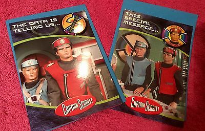 Vintage Captain Scarlet Birthday Cards And Badges X 2 And Envelopes