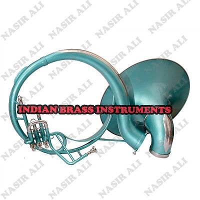 "IBI SOUSAPHONE Bb PITCH 21"" BELL WITH FREE CARRY BAG AND MOUTHPIECE, GREEN COLOR"