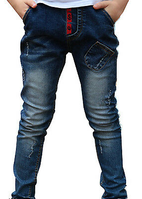 Toddler Boy Casual Washed Elastic Mid Waist Skinny Full Length Pants Denim Jeans