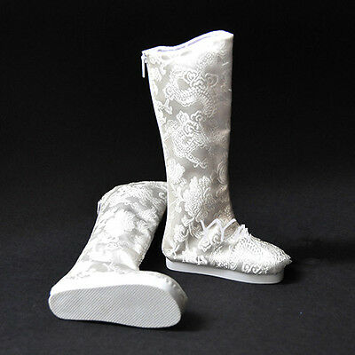 "BJD Doll 4""/full Figure Chinese Ancient Costume Brocade White High Boots Be"