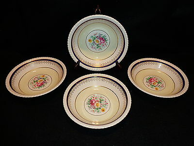 Johnson Bros OLD ENGLISH SOUP / CEREAL BOWLS Lot x 4 Blue Gold Yellow Floral