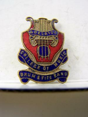 1950's Adelaide College of Music - Drum and fife band enamel pin back badge 1087