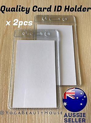 *2pcs* Vertical Gd Quality Clear Card ID Holder Sleeve (Office Name Tags Pass)