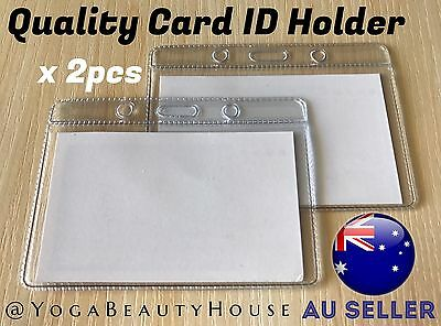 *2pcs* Horizontal Gd Quality Clear Card ID Holder Sleeve(Office Name Tag Pass)
