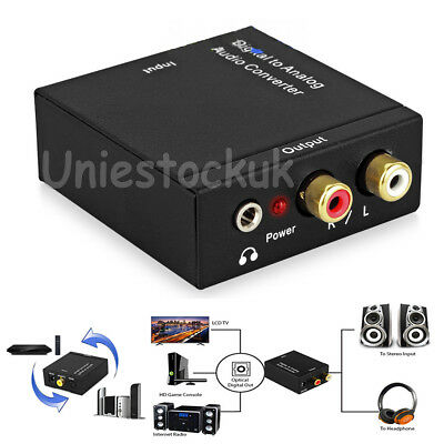 Coaxial RCA Digital Optical Toslink Signal to Analog Audio Converter Cable ER