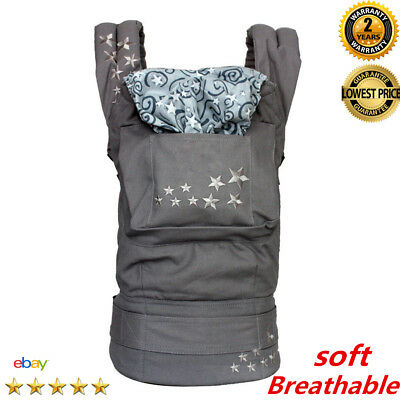 Safety Baby Ergo Carrier Infant 4 Position 360 ° Breathable Kids Backpack Grey