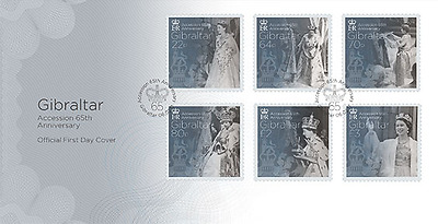 """Gibraltar - 2016 """"Accession 65th Anniversary"""" First Day Cover"""