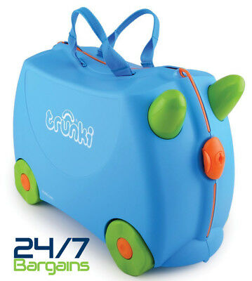 Trunki Terrance Ride On Hand Luggage Pull Along Suitcase 4 Children Kids-Blue
