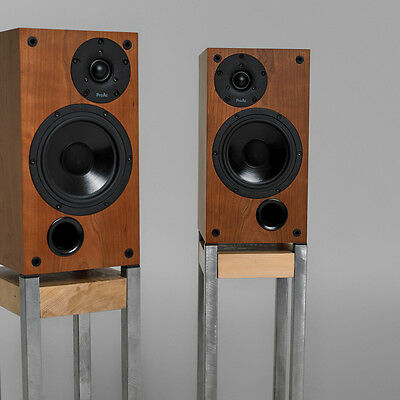 Frame Hi-Fi Home Audio Speaker Stands - Concrete Base, Raw Steel and Wood Plinth