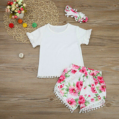 3PCS Toddler Kids Baby Girl T-Shirt Tops+Floral Shorts Pants+Headband Outfits UK