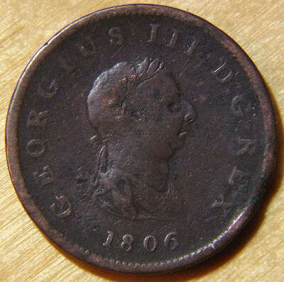 1806 Half Penny Coin Great Britain Currency King George III Britannia KM# 662