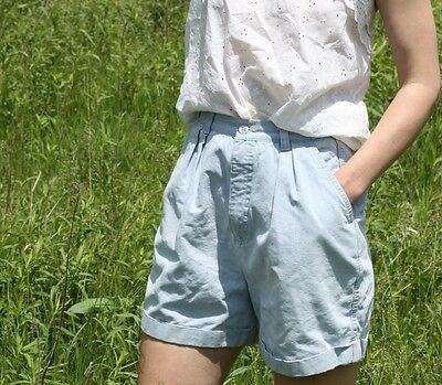 Vintage Jean Shorts Denim Trouser Shorts Pleated High Waist 80's Cuffed Leg S