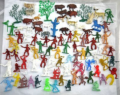 Vtg Lot Of 1960's Plastic Cowboys & Indians Figure Toys + Animals Trees     Lot1
