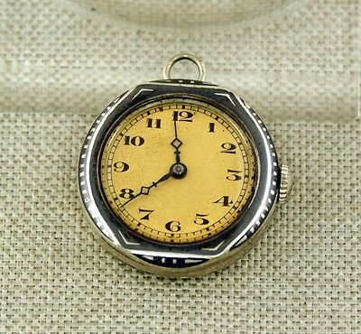 RAR small Art Deco Niello silver Vintage chain Pocket Watch Uhr wristwatch chain