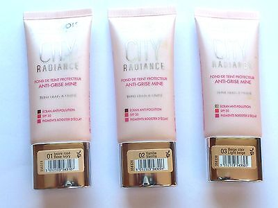 BOURJOIS CITY RADIANCE SKIN PROTECTING FOUNDATION 30ml -VARIOUS CHOICES USE MENU