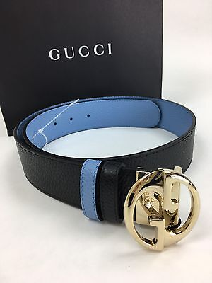 New Authentic GUCCI Signature Reversible Blue,Black Leather Belt. Made in Italy.