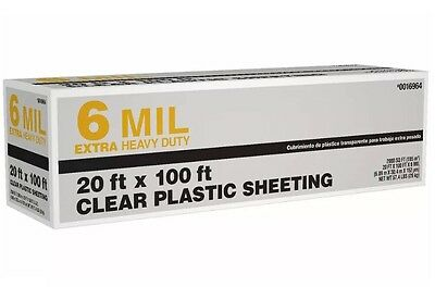 20ft x 100 ft x 6 mil Clear  Extra Heavy Duty Plastic Sheeting New