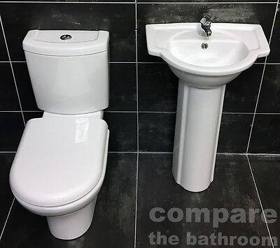 Lucy Basin Sink & Toilet Set Bathroom Suite Cloakroom Ensuite Modern Style