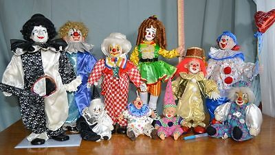 Lot of 10 Vintage Circus Clown doll  Figurine Decorative Collectible
