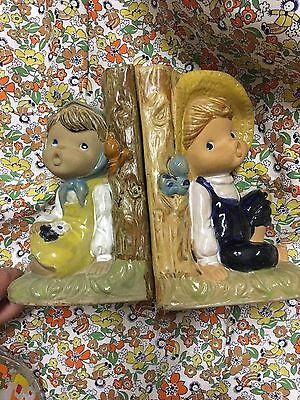 Vintage Kitsch Retro Gempo Ceramic Boy And Girl Bookends