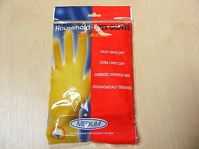 1 Pair Medium Latex Washing Up Gloves / Rubber Gloves For Kitchen