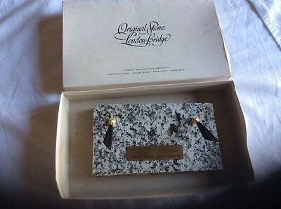 Vintage Granite Stone from Old London Bridge in box with brass plaque