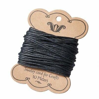 10m Black Cotton Wax Bead Cord String Thread For Bracelets Making 1.2mm