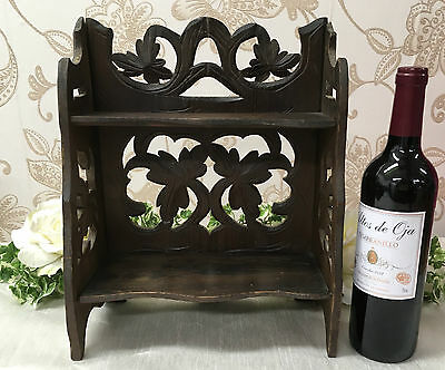 Antique Wooden Black Forest Book Rack With Collaspable Shelf