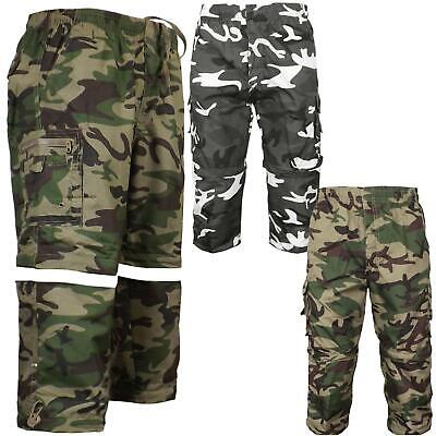 Mens 2 In 1 Zip Off Camouflage Shorts Combat Cargo Army Trousers Work Pant S-3Xl