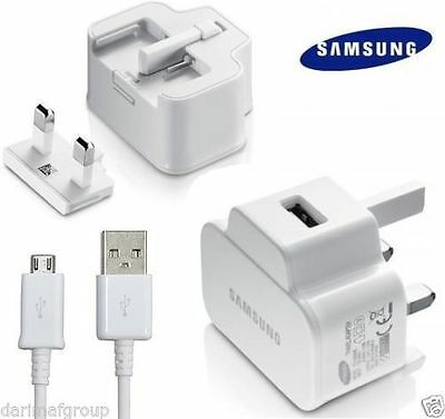 Genuine Samsung Galaxy S3 S4 S5 S6 S7 Mains Charger USB Plug and Data Cable Lead