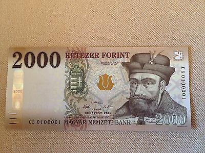 Fancy Two Digits S/N Hungary CB 0100001 NEW 2000 Forint 2016, UNC, P-204a