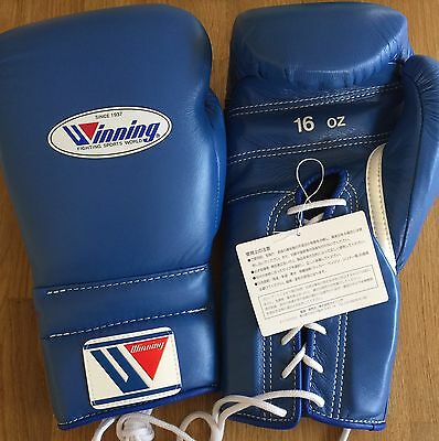 Winning Boxing Gloves 16oz Lace Up BLUE