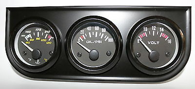 """2"""" 52mm Electronic Triple Gauge Kit Volt, Oil Pressure And Water Temperature 12v"""